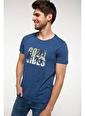 DeFacto Yazı Baskılı Slim Fit T-shirt Mavi